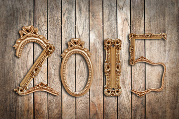 2015, wooden antique frames, wood planks background
