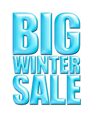 Big Winter Sale text in light blue on white background.