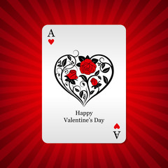 Playing card ace of hearts on background