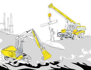 Excavator and Crane