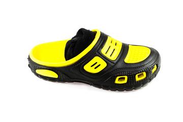 Gelb Schwarze Schuhe mit Socken