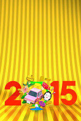 Jumping Car, New Year Ornament, 2015 On Gold Text Space