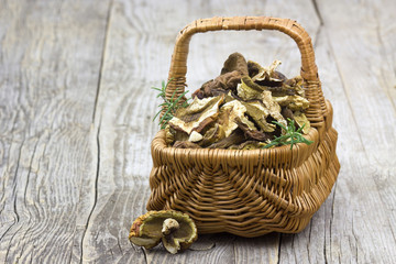 dried mushrooms in a basket