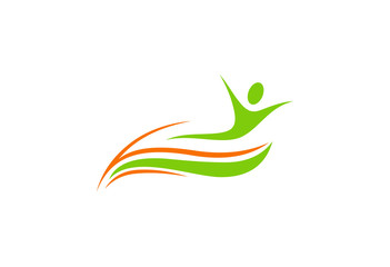green eco people health logo