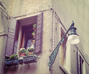 window and street lamp in vintage tone
