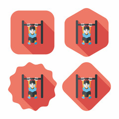 Boy hanging horizontal bar flat icon with long shadow,eps10