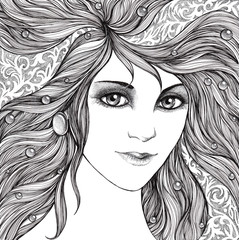 Young woman face, with fluttering hair