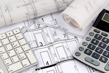 Hausplan mit Taschenrechner