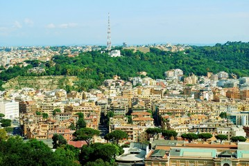 Aerial view of Rome city from St Peter Basilica roof