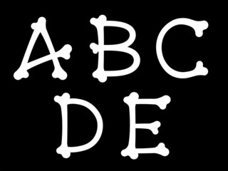 ABCDE alphabet letters in the shape of bones