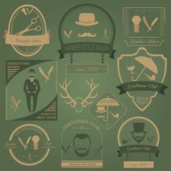 Set of vintage barber, hairstyle and gentlemen club logos. Vecto