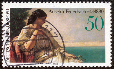 stamp printed in German shows Iphigenia by Anselm Feuerbach