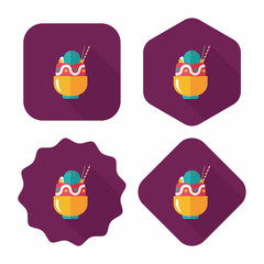 sundae flat icon with long shadow,eps10