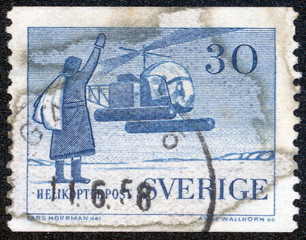 stamp printed by Sweden, shows Helicopter Mail Service