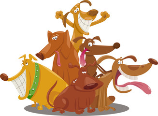 playful dogs group cartoon illustration