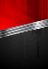 Red and black tech background with metal stripe