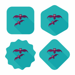 Halloween bat flat icon with long shadow,eps10