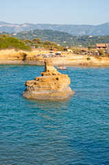 Sidary beach is known for its coves of the Canal D'Amou. Corfu.