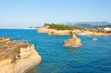 Sidary landscape with the soft rock erosion. Corfu, Greece.