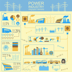Power energy industry infographic, electric systems, set element