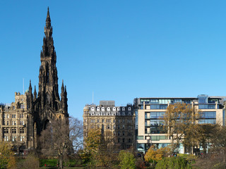 A view of Princes Street, Edinburgh, showing the Scott Monument.