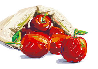 Painting baby apples. Vector oil color style.