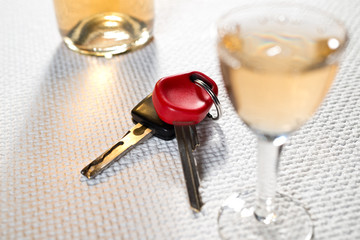 ignition key and hard liqueur