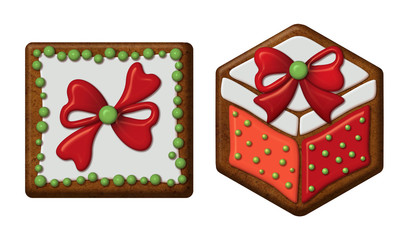 Christmas gift boxes, gingerbread cookies isolated
