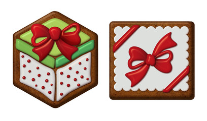 Christmas gift ornament, gingerbread cookies isolated