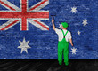 Australian flag painted over brick wall by house painter
