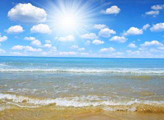 Blue sea and sunny sky