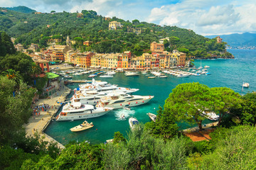 The famous Portofino village and luxury yachts,Liguria,Italy