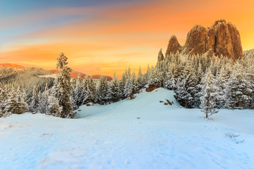 Majestic sunset and winter landscape,Lonely-Rock,Romania