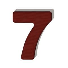 7 numero lana maglione 3d in tessuto, isolata su sfondo bianco