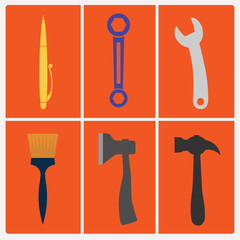 Set of tools. Flat design style illustration.