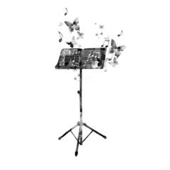 Elegant music stand design with butterflies