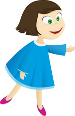 Monica, gril in blue dress