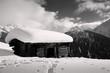 canvas print picture - Alphütte mit Schnee