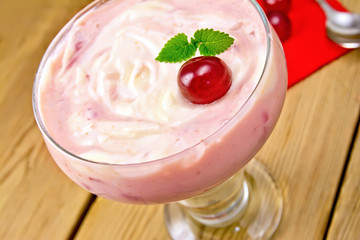 Dessert milk with cherry and red napkin