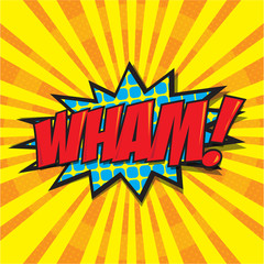 WHAM! wording in comic speech bubble in pop art style
