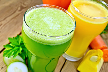 Juice cucumber and vegetable in tall glass