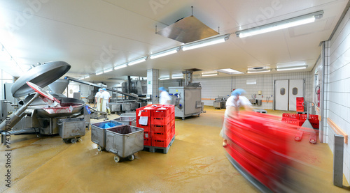 Fotobehang Industrial geb. Großfleischerei, Herstellung von Wurstwaren