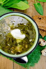 Soup green of sorrel and spinach on board