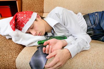 Teenager sleep with a Beer