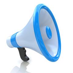 Blue megaphone or loudspeaker