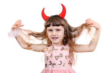 Little Girl with Devil Horns