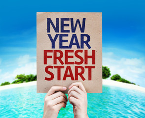 New Year Fresh Start card with a beach on background