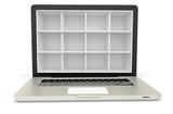 3d laptop computer with empty bookcase,shelves