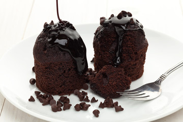 Chocolate muffins with chips