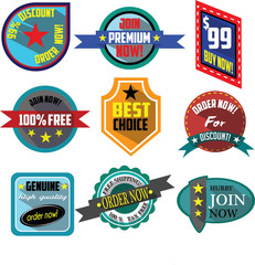 Order, Buy, Join Now logo badges and labels